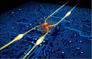The photonic router the Weizmann Institute scientists created. At the center is the single atom (orange) that routes photons (yellow) in different directions