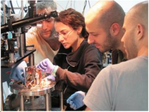 Dr. Barak Dayan's group members: (l-r) Serge Rosenblum, Yulia Lovsky, Orel Bechler and Itay Shomroni