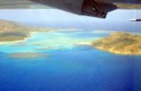 An aerial photo of a coral reef. (C : Boaz Lazar, Hebrew U)