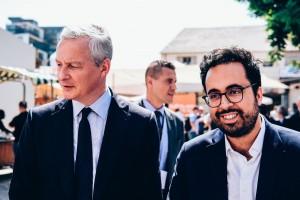 A g., Bruno Le Maire, à d. Mounir Mahjoubi