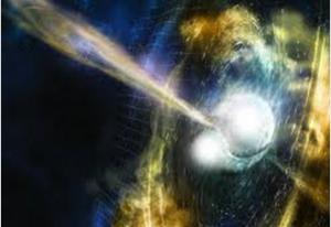 Vue d'artiste d'une fusion d'étoiles à neutrons avec un sursaut gamma court, Crédit : Caltech