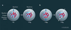 Electron capture and two-neutrino double electron capture. a, An iodine-124 atom can decay with a half-life of 4.2 days to an atom of tellurium-124, through a process called electron capture. The nucleus of the iodine-124 atom captures an electron from the electron shells that surround it. A proton (circled) in the nucleus is converted into a neutron, and a neutrino is emitted. b, A xenon-124 atom cannot decay by electron capture, because of the law of energy conservation. However, it can decay with an extremely long half-life to a tellurium-124 atom, through a process known as two-neutrino double electron capture. The xenon-124 nucleus captures two electrons from the surrounding electron shells, which results in the conversion of two protons (circled) into neutrons, and the emission of two neutrinos. The XENON Collaboration2 has measured the half-life of this process to be 1.8×1022 years — about one trillion times the age of the Universe.