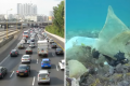 Embouteillages à l'entrée de Tel Aviv ; déchets en mer à 100 m du littoral israélien