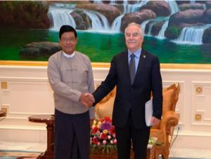 Vice President of Myanmar U Nyan Tun and Minister Yair Shamir