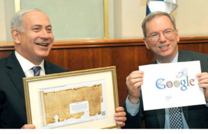 Israel's Prime Minister Benjamin Netanyahu and Google executive chairman Eric Schmidt (picture Sydney morning Herald)