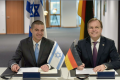 Left: Director General of the Israeli Ministry of Economy and Industry Amit Lang and Germany's Parliamentary State Secretary to the Federal Minister of Education and Research Thomas Rachel