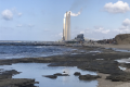 Sampling location adjacent to the Hadera Power Plant. Foraminifera are found in vast numbers attached to macroalgae that cover the hard rock flats at very shallow water depths.   Photo Credit: Prof. Sigal Abramovich