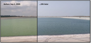 100,000 sqm (25 acres) Galon Reservoir in Southern Israel, treated with 10kg/ha (~10lb/acre) Lake Guard Blue. Application time: 5 minutes.